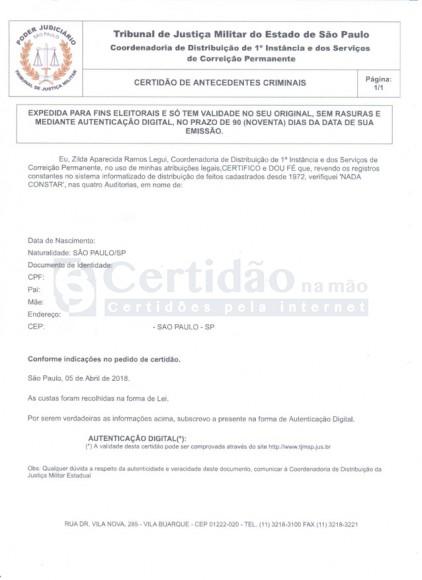 Certidão de Antecedentes Criminais - Tribunal de Justiça Militar do Estado de São Paulo