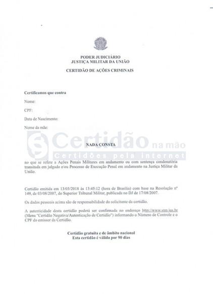 Certidão Negativa de Ações Criminais - Justiça Militar da União