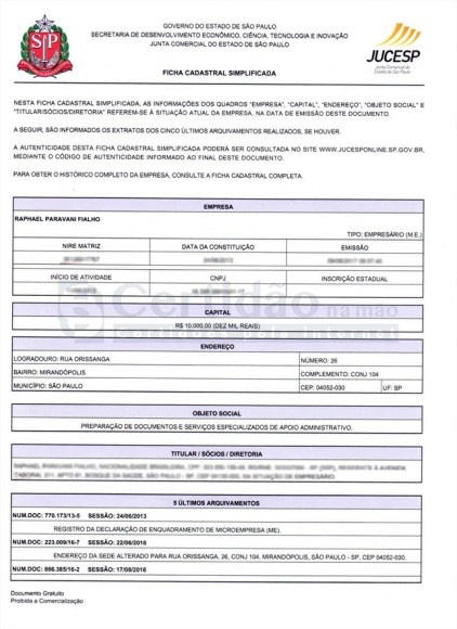 Ficha Cadastral Simplificada da Empresa - JUCESP (São Paulo - Estadual)