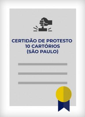 Certidão dos 10 Cartórios de Protesto (Cidade de São Paulo)