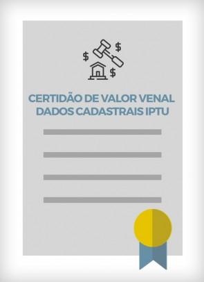 Certidão de Valor Venal - Dados Cadastrais IPTU (Cidade de São Paulo)