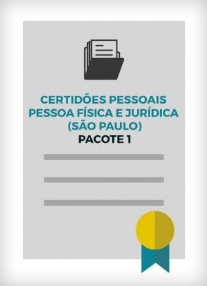 Certidões Pessoais Pessoa Física e Jurídica (Cidade de São Paulo) - PACOTE 1