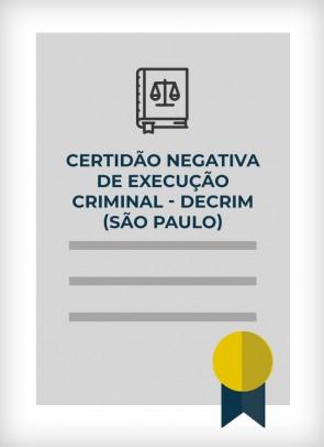 Certidão Negativa de Execução Criminal - DECRIM (Cidade de São Paulo)